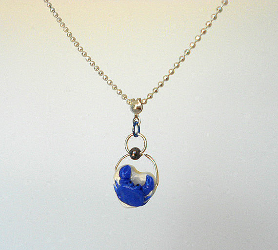 fanART- Blue Crab necklace -gifts for women and teenagers